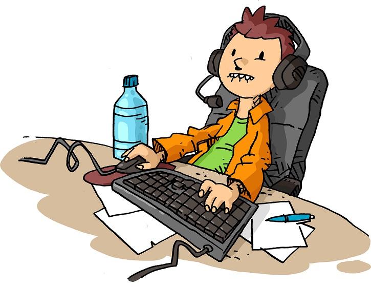 Piirroskuva nuoresta tietokoneella